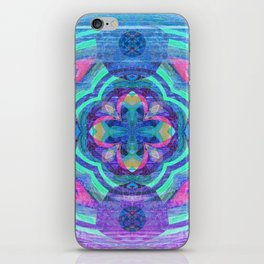 Purple Glow Wood Mandala iPhone Skin