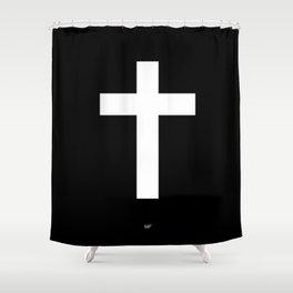 White Cross Shower Curtain