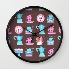 Coffee Lovers Moka, Coffee grinder, Espresso cups and cake! Wall Clock
