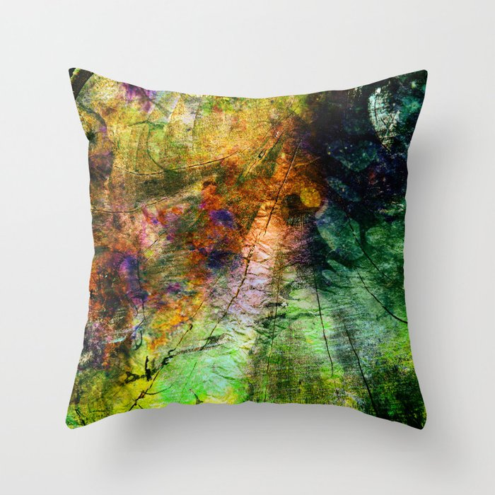ink in wood Throw Pillow