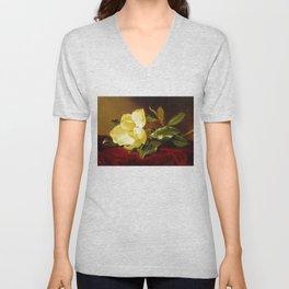 A Yellow Magnolia on Red Velvet by Martin Johnson Head Unisex V-Neck