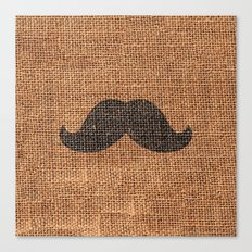 Black Funny Mustache on Brown Jute Burlap Texture Canvas Print