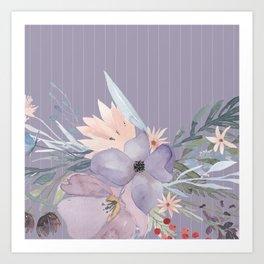 Striped Floral Lavender Bouquet Art Print