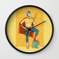library Wall Clocks featuring Lucha Library by ringo