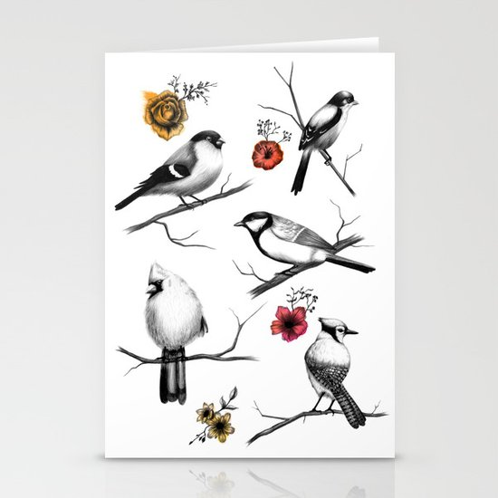 BIRDS & FLOWERS Stationery Cards