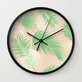 pink & green palm branch pattern, tropical design, boho design, tropical art, beach pattern Wall Clock