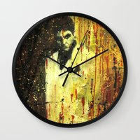scarface Wall Clocks featuring Tony Montana in Scarface by Miquel Cazanya