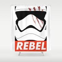 rebel Shower Curtains featuring REBEL by Bertoni Lee