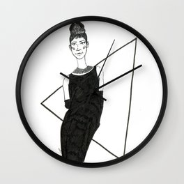 Girl in a black dress Wall Clock