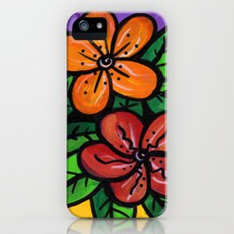 Whimsical Impatien Flowers iPhone Case