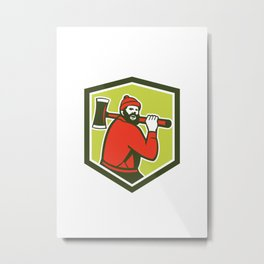 Paul Bunyan LumberJack Carrying Axe Metal Print