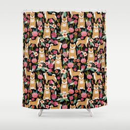 Shiba Inu floral dog breed pet art must have gifts pure bred shiba inus doggo Shower Curtain