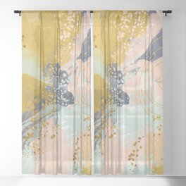 Abstract paint Sheer Curtain