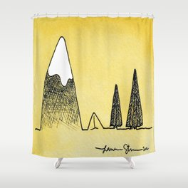 Camping between the mountain and the trees Shower Curtain