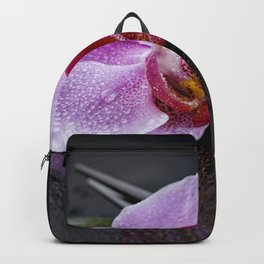 Pink orchid zen black still life Asia Backpack