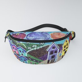 Colorful World Village Beach Space Shuttle Planets Stars Boats Cows Home Ocean Jackie Carpenter Girl Fanny Pack