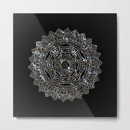 Aztec Mexican Silver Mandala Metal Print