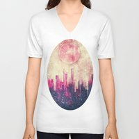 city V-neck T-shirts featuring Mysterious city by SensualPatterns
