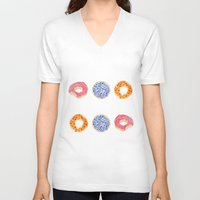 doughnut V-neck T-shirts featuring doughnut selection by cardboardcities