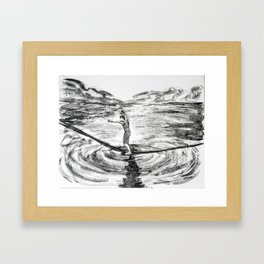 Waterline Monotype -- slackline Framed Art Print