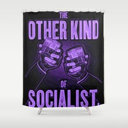 """Vintage """"The Other Kind of Socialist"""" Alcoholic Lithograph Advertisement in vivid purple Shower Curtain"""