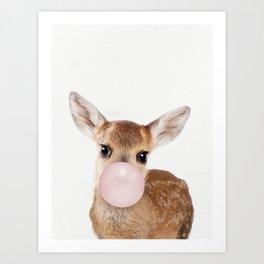 Bubble Gum Baby Deer Art Print