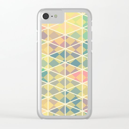 Green mosaic checkered art Clear iPhone Case