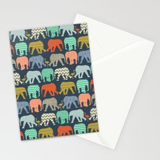 baby elephants and flamingos sienna Stationery Cards