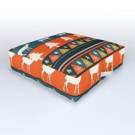 Festive Christmas deer pattern Outdoor Floor Cushion
