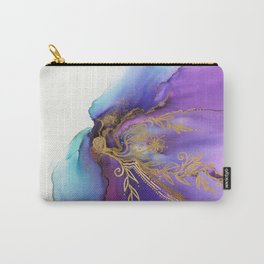 Blooming Gold In Violet Iris - Abstract Ink Painting Carry-All Pouch