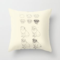 How to Draw The Pug Life  Throw Pillow