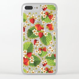 Botanical Strawberries Clear iPhone Case