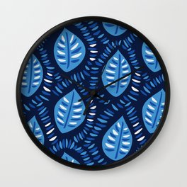 Beautiful Decorative Blue Leaves Pattern Wall Clock
