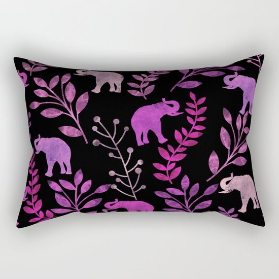 Watercolor Flowers & Elephants III Rectangular Pillow