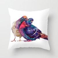 takmaj Throw Pillows featuring Pigeons by takmaj