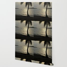 the sunset by the palm tree Wallpaper
