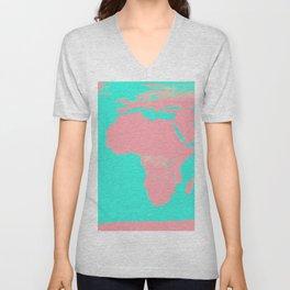 Undistorted World Map Pink Aqua Unisex V-Neck