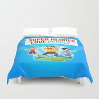 super heroes Duvet Covers featuring Super Heroes Love People by youngmindz