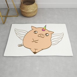 Perfect Pig Gift Tee With An Illustration Of A Unicorn T-shirt Design Magical Mythical Colorful Rug