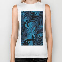 Tropical Jungle Night Leaves Pattern #2 #tropical #decor #art #society6 Biker Tank