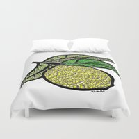 lemon Duvet Covers featuring Lemon  by Kris LeGates