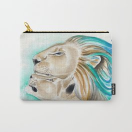Two Lions Watercolor Art Carry-All Pouch