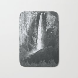 Bridalveil Falls. Yosemite California in Black and White Bath Mat