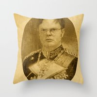 dwight schrute Throw Pillows featuring Kaiser Dwight by ThePencilClub
