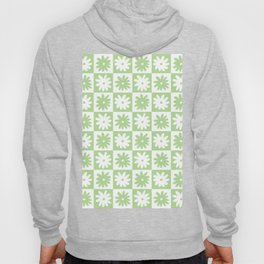Green And White Checkered Flower Pattern Hoody