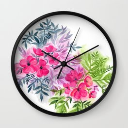 Dual Bouquets - a watercolor floral Wall Clock