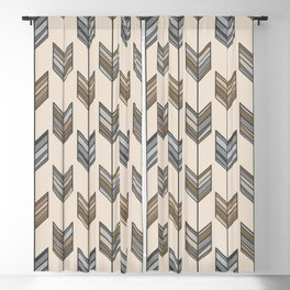 Boho Arrow Fletching Pattern - Neutral Brown and Grey Blackout Curtain