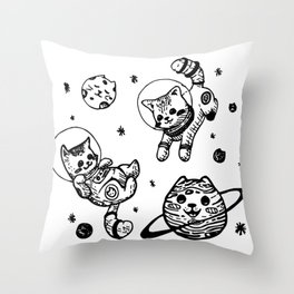 Kitty Cats Flying in Space - Kittens Throw Pillow