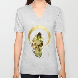 Virgo - Zodiac sign - Watercolor Ink and Gold Foil illustration Unisex V-Neck