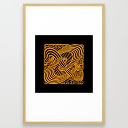 Art Nouveau Swirls in Orange and Black Framed Art Print